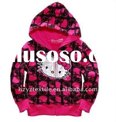 2011New style fashion designs hot sale Hello Kitty girls long sleeves tshirt sweatshirt hoodie child