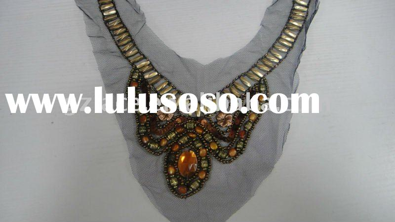 2011!! High quality beautiful odd-shaped pendant beaded sequined lace fabric,mix styles are availabl