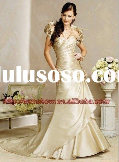 2011 New Arrival Flowers Belts Champagne Colored Wedding Dresses