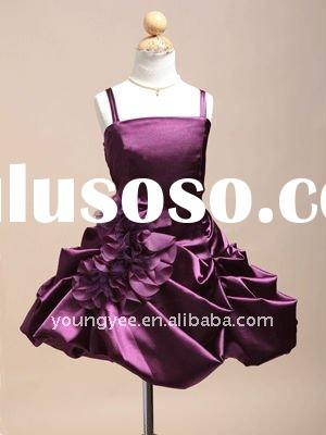 2011 New design spaghetti straps ruffle flower girl dresses for weddings,kids evening gowns
