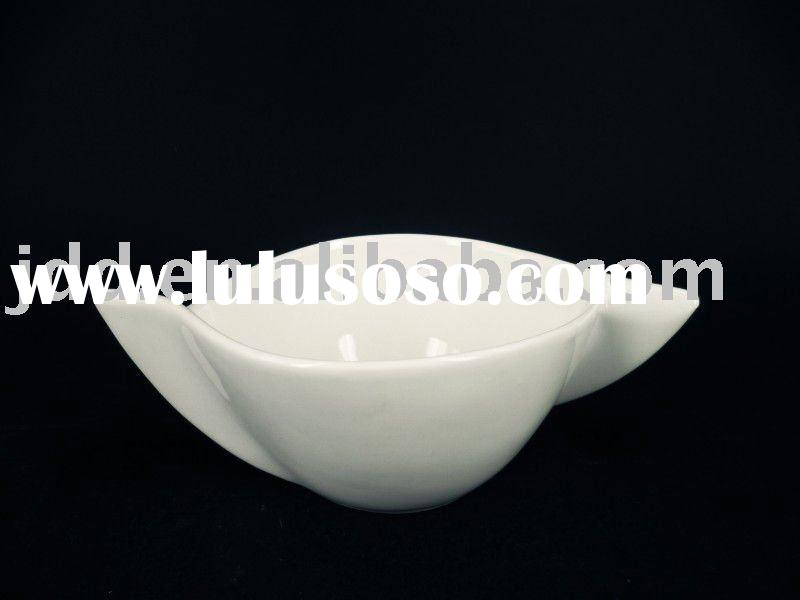 "2011 Newly 8"" White Porcelain Soup Bowl with handle"