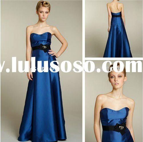 2011 Newly Arriving Strapless Long Royal Blue Bridesmaid Dress