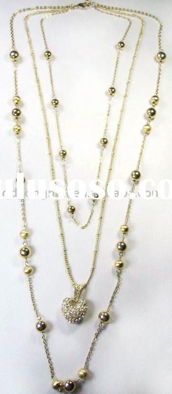 2011 fashion costume jewelry double gold chain studded crystal rhinestone heart pendant necklace