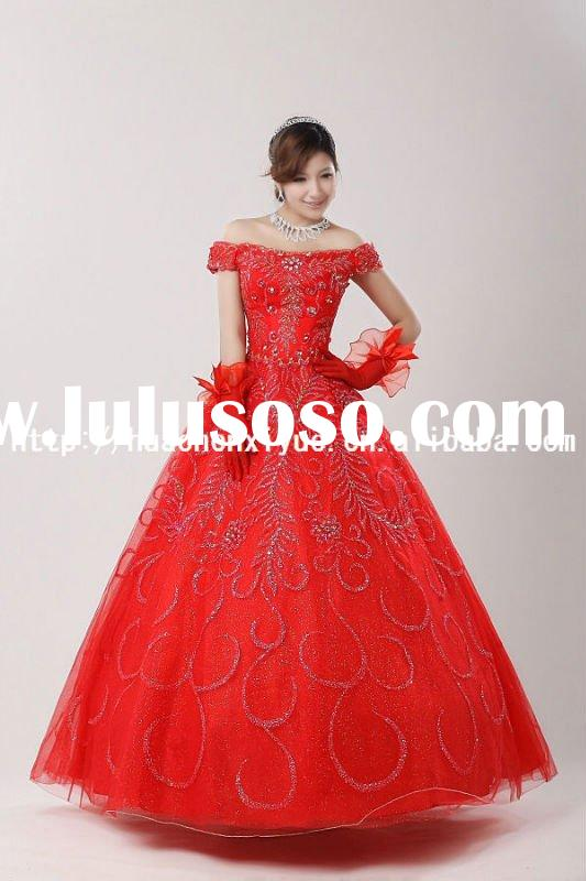 2011 hot sale red cap sleeve lace crystal wedding dress suzhou JB-17