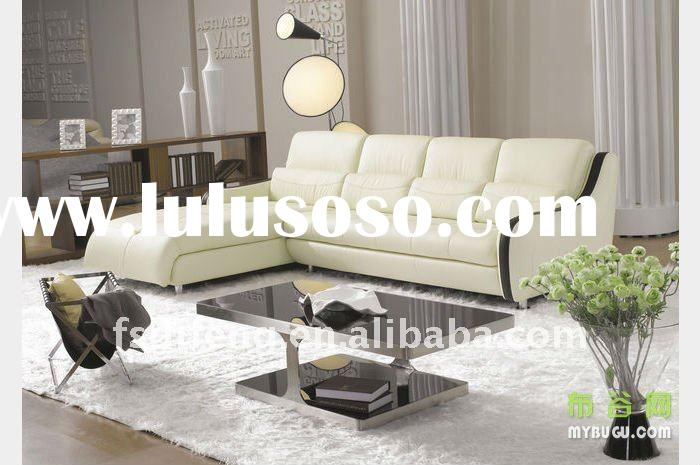 2011 hot sell leather sofa set LS39 white color