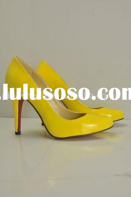 2011 lady yellow 12 cm high heel shoes, ladies shoes