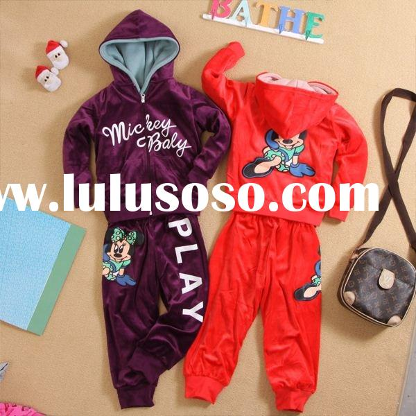 2011 new design fashion velour girl's clothing hoodies+pants children's brand clothi