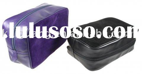 2011 stylish balck and purple (See-through ) cow leather washbag bag