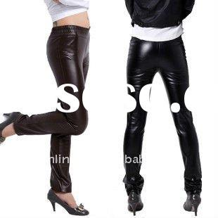 2011 wholesale Lady tight slimming leather pants; fashion design women trousers