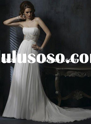 2011factory Latest design Chiffon ribbons lace strapless Bridal Gown evening dress party dress