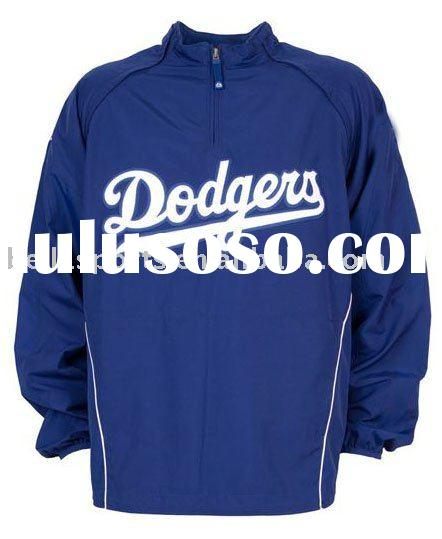 2012 100% polyester Quarter-zip pullover baseball jacket with LOGO FRONT
