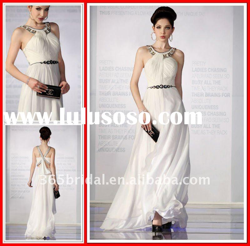2012 Formal Sheath Jewel Long Chiffon Goddess Evening Dress