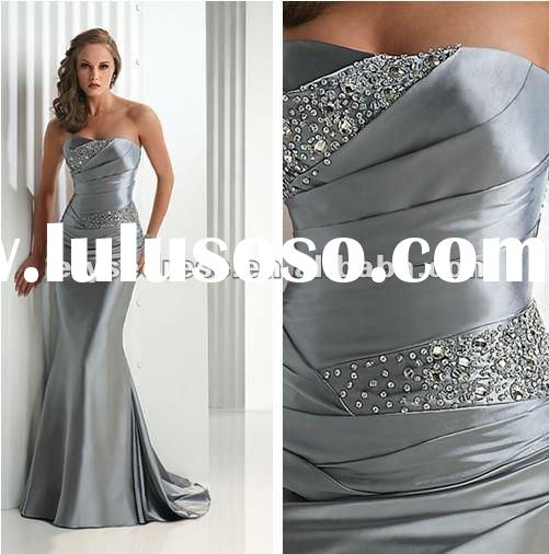 2012 Hot Sale Free Shipping Custom Made Silver Formal Evening Dress