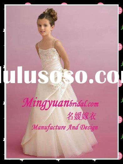 2012 Hot Selling Spaghetti strap Appliqued Taffeta silk flower girl dress
