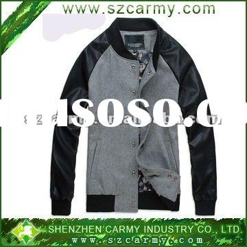 2012 New Fashion Men's Spring & Autumn Gray Fleece and PU leather sleeves Jacket Coat