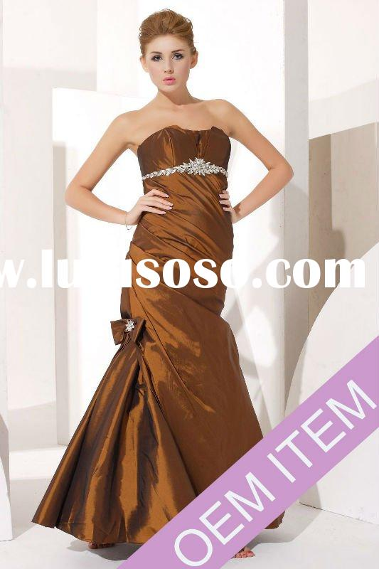2012 New design sweetheart strapless lace up mermaid long taffeta ball gown prom dress