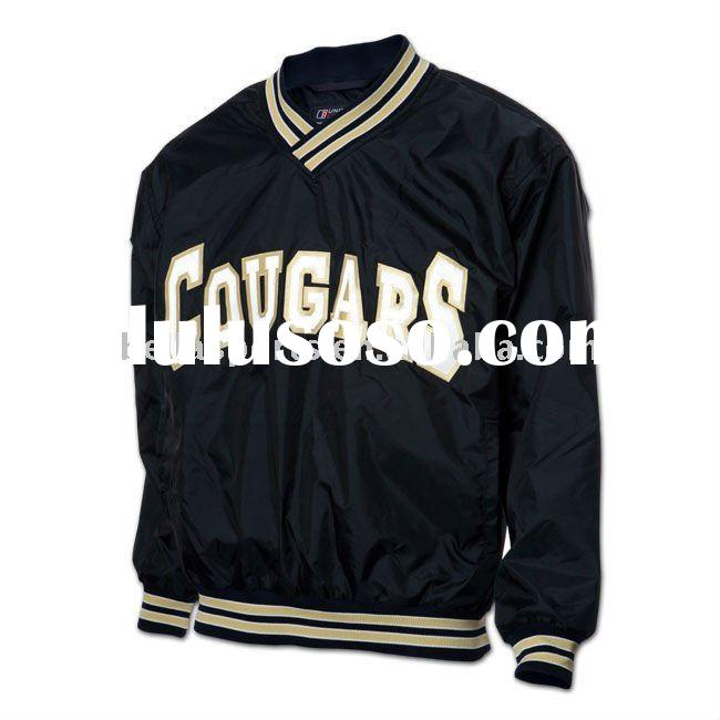 2012 Nylon lined V-neck pullover baseball jacket with contrast rib on collar ,cuff and bottom