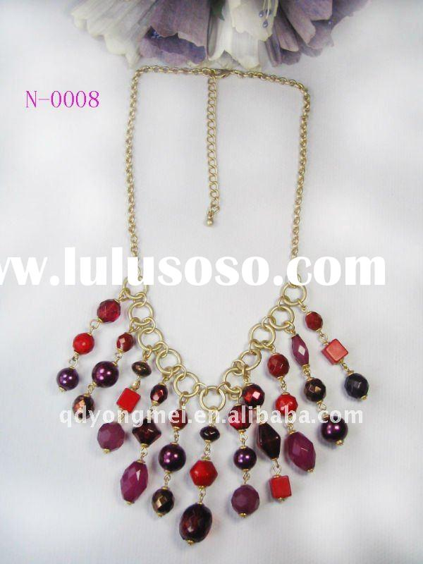 2012 fashion gold plated metal chain amethyst beaded necklace indian costume jewelry