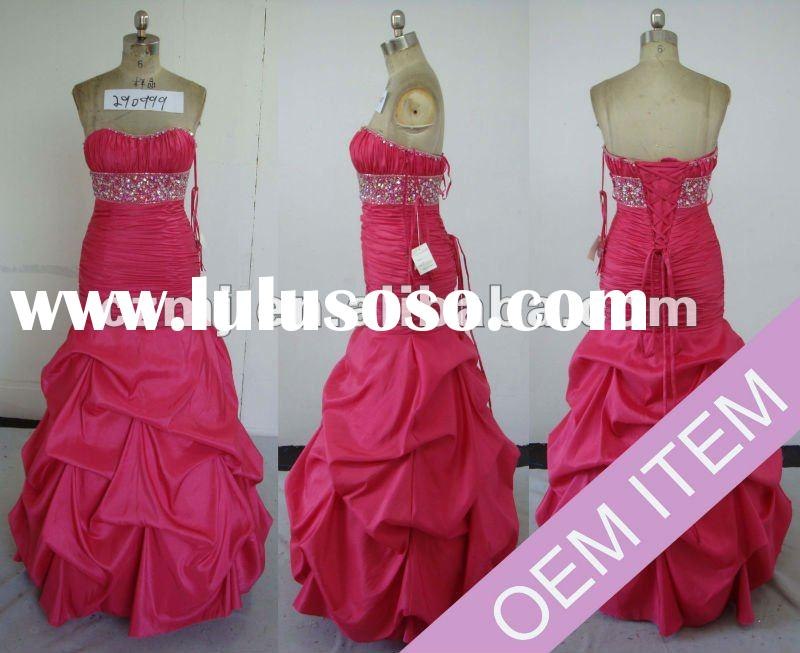 2012 hot sale taffeta beaded strapless pick up ball gown prom dress