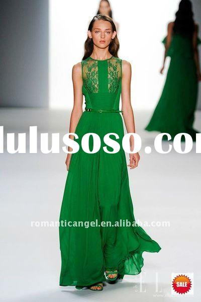 2012 new design perspective green evening prom dress