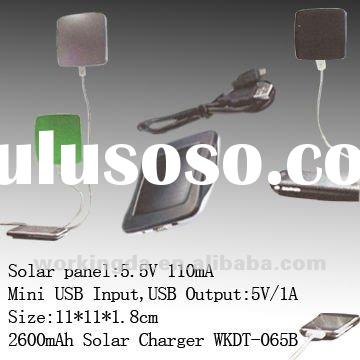2500mAh Mini USB Input Solar Mobile Charger for iphone and tablets