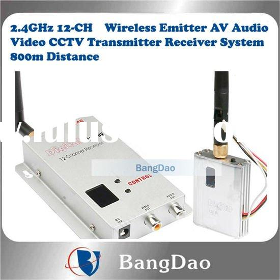 2.4GHz 12-CH Wireless Transmitter and Receiver System for for AV/Audio/Video/CCTV with Effective Ran