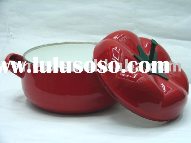 2pcs Porcelain Enameled Tomato Casserole,soup pot,cookware With Metal Lid Decor