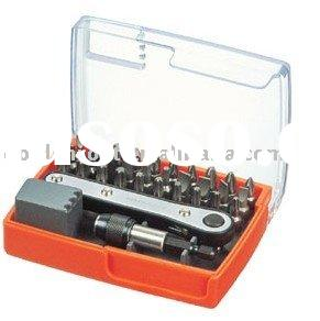 32pcs Bits Set with Mini Ratchet Bit Holder and Quick Release Stainless Magnetic Bit Holder, Screwdr
