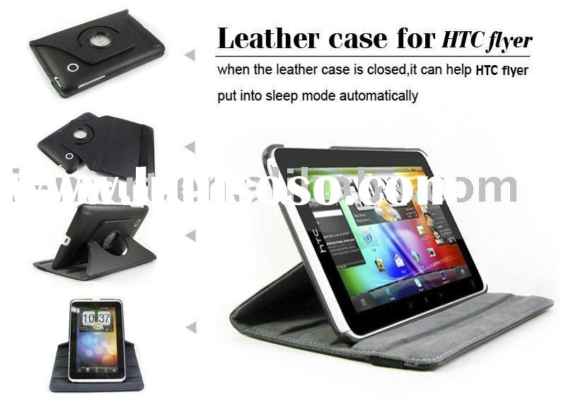 360 Degree rotation Leather protective cover for HTC Flyer