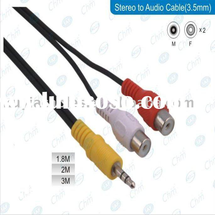 "3.5MM (1/8"") MALE TO 2-RCA FEMALE AUDIO Y CABLE"