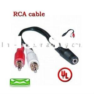 3.5 DC Jack to 2 RCA Audio Video cable for DVD player