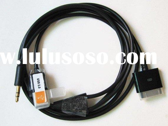 3.5mm Audio Line out+Usb Dock Cable for iphone ipod Charge In car and play audio out to car Stereo