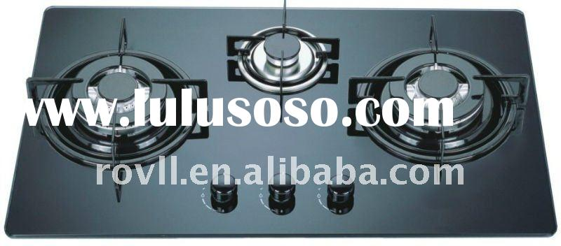 3 burner tempered glass/toughened glass build-in gas stove