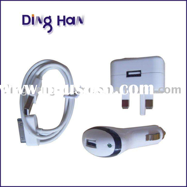 3 in 1 Charger Kit for iPhone 3G and iPod /Wall Car charger USB adapter for iphone 3G (UK version)