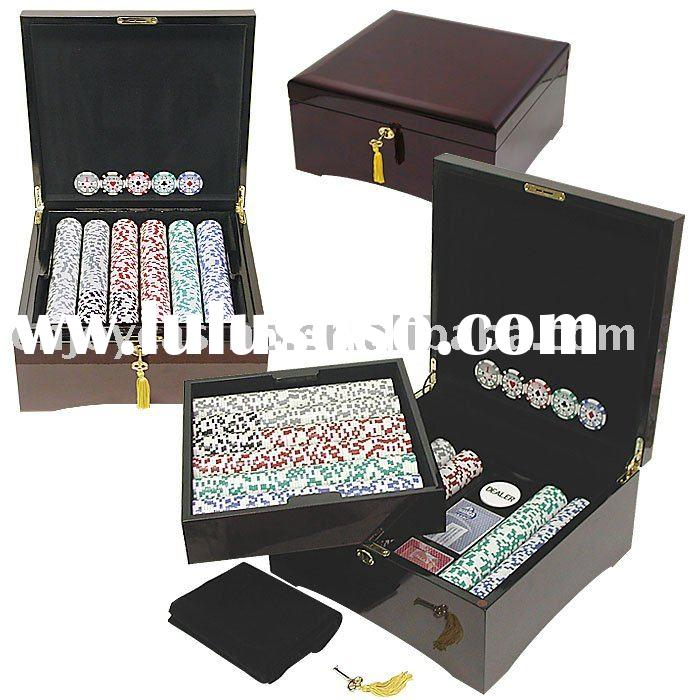 500pc casino customized mahogany poker chips set