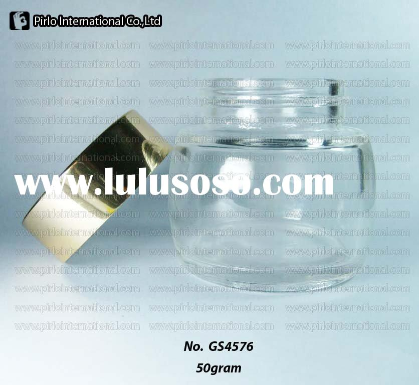 50g/50m/1.7oz Clear Glass Round Cream Jars with metal cap