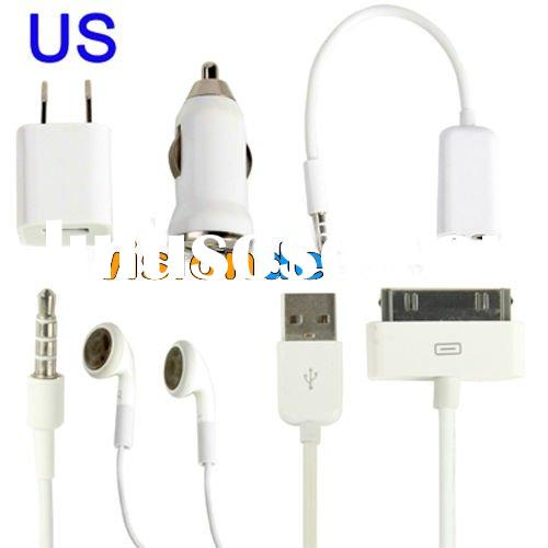 5 in 1 ( US Plug Home Charger + Car Charger + USB Cable + Audio Splitter + Stereo Headset ) Travel K