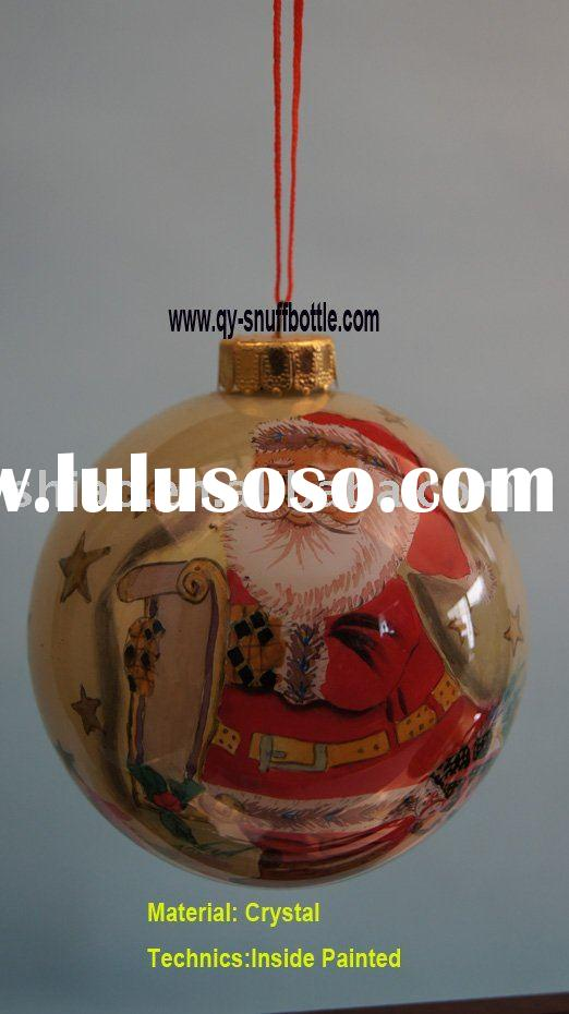 8cm diameter glass decorative christmas ball inside painted santa claus pic as christmas glass ornam