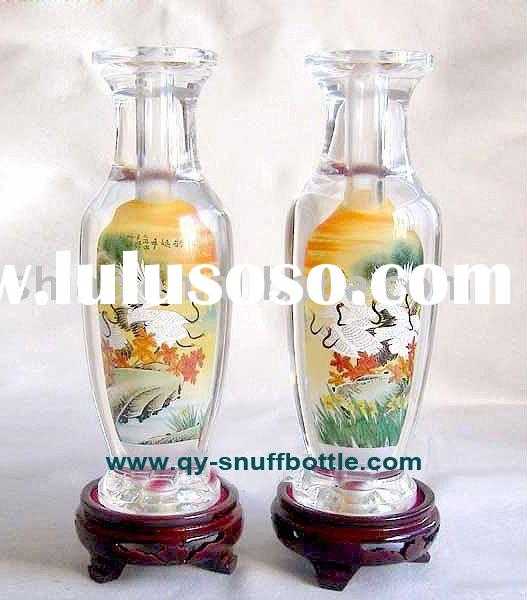 A pair of crystal vases round shape inside painted crane picture as decorative vase