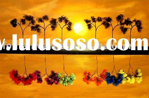 Abstract Sunset landscape painting -Colorful decorative trees