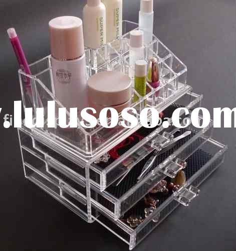 Acrylic Clear Cube Cosmetic Makeup Organizer whit 3 Drawers (CD-B-180)