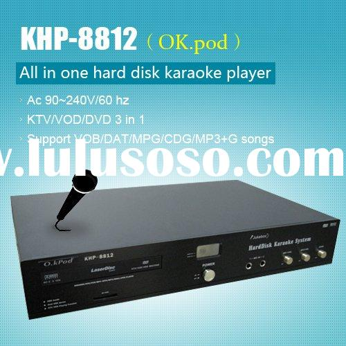 All-in-one Hard drive KTV player ,Support VOB/DAT/AVI/MPG/CDG/MP3+G songs ,Multilingual MENU
