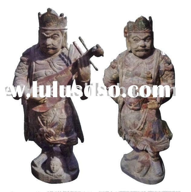 Antique Wood Carving Sculpture, Wooden Carved Buddha Statue, Home Decoration