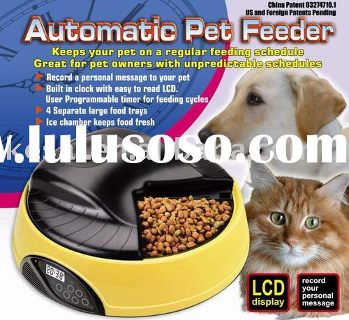 Automatic Pet Bowl,Automatic Pet Feeder, 4 Meals Tray Pet, Cat Dog Food Feeder,KPF-05A