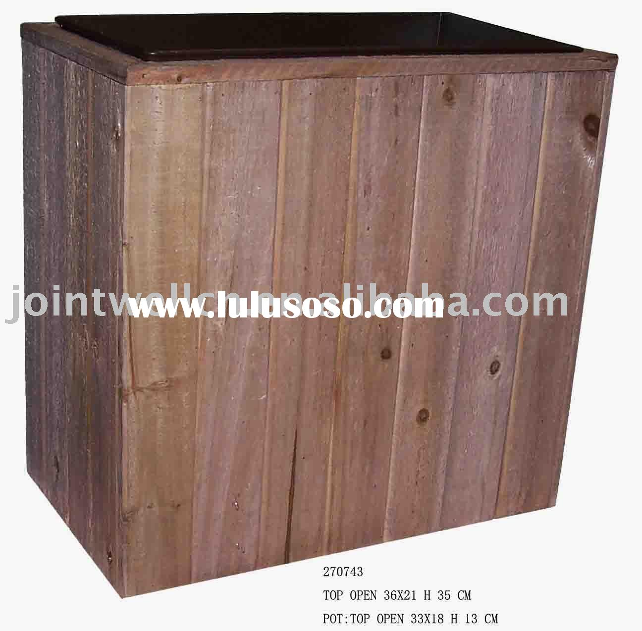 Big Wooden Garden Flower Pots for Decorative