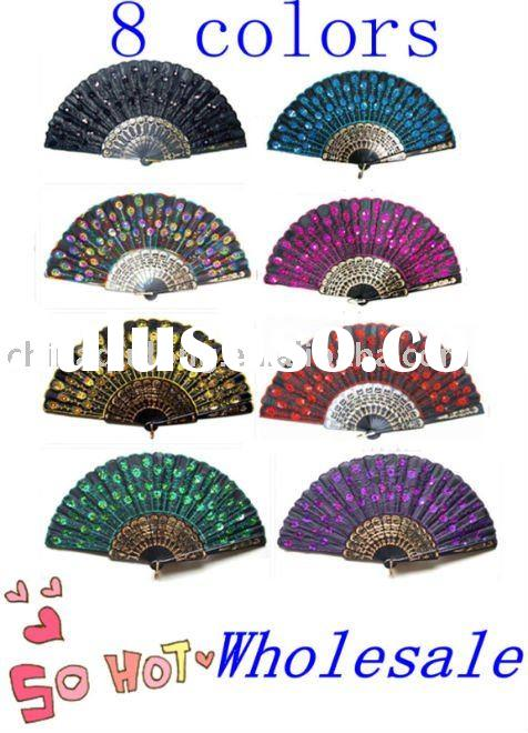 Black Lace Embroidered Cloth Folding Hand Fan wholesale