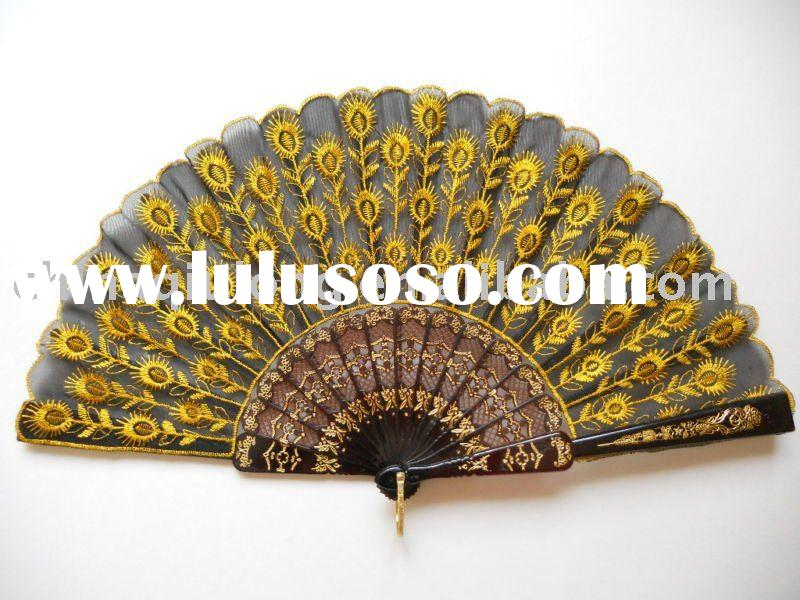 Black Spanish Embroidered Cloth Folding Hand Fan Bridal