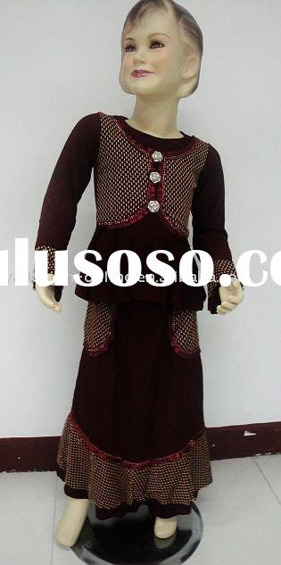 CC148 high quality girls' muslim clothing;islamic abaya 2011