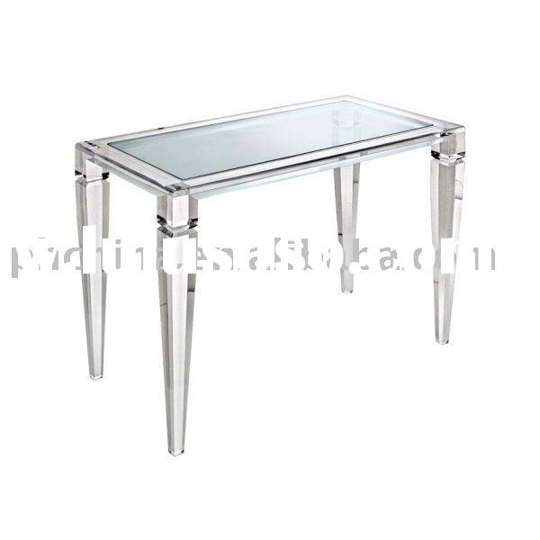 Clear Acrylic King George Desk Table With Glass Top;Clear Lucite Desk Table;Acrylic Dining Table