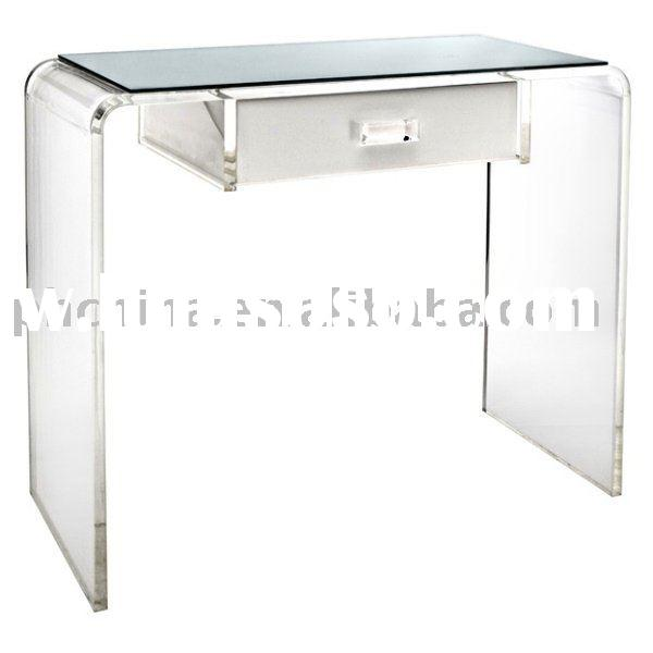 Clear Acrylic Waterfall Vanity Table;Clear Plexiglass Vanity Table;Clear Lucite Vanity Table;Clear P